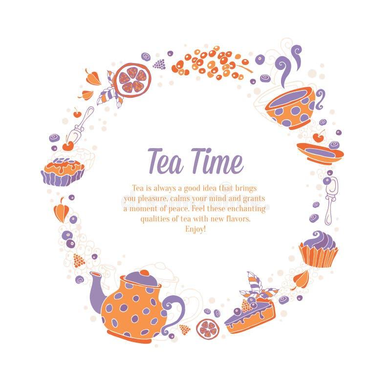 Den eleganta uppsättningen av handen dragit te och kakor cirklar kransen för busine stock illustrationer