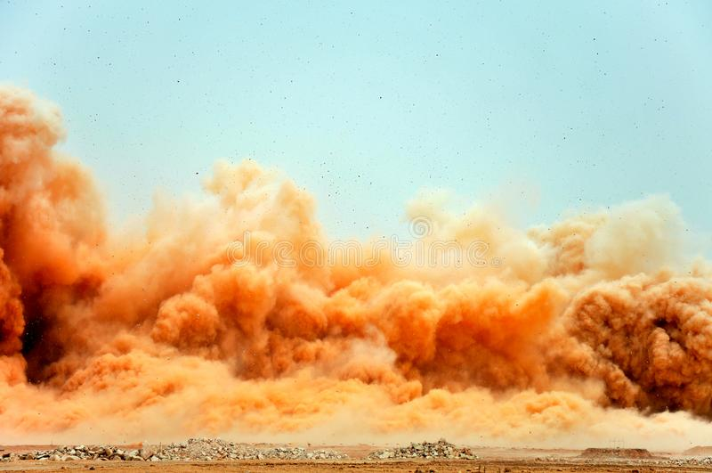 Den elektriska detonatortryckvågen på platsen arkivbilder