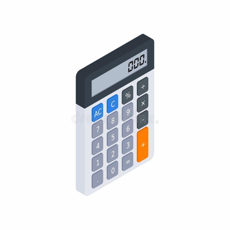 Den elektroniska räknemaskinen som är isometrisk, begrepp beräknar kontofinans, kontorsutrustning, finans, affären, ingen bak vektor illustrationer
