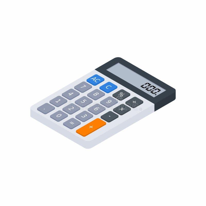 Den elektroniska räknemaskinen som är isometrisk, begrepp beräknar kontofinans, kontorsutrustning, finans, affären, ingen bak royaltyfri illustrationer