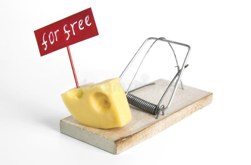 Den enda fria osten är i råttfällan: råttfälla med osttillfångatagandebegrepp och fritt tecken på den isolerade vita bakgrunden arkivbild