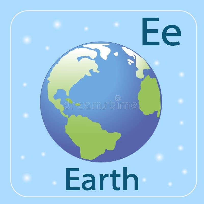 Den engelska bokstaven E och planetjorden royaltyfri illustrationer