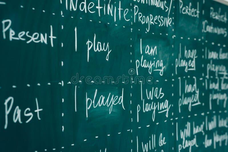 Den engelska kursen, skola, lär utländskt språk tavla Verben stramar åt grammatik arkivbilder