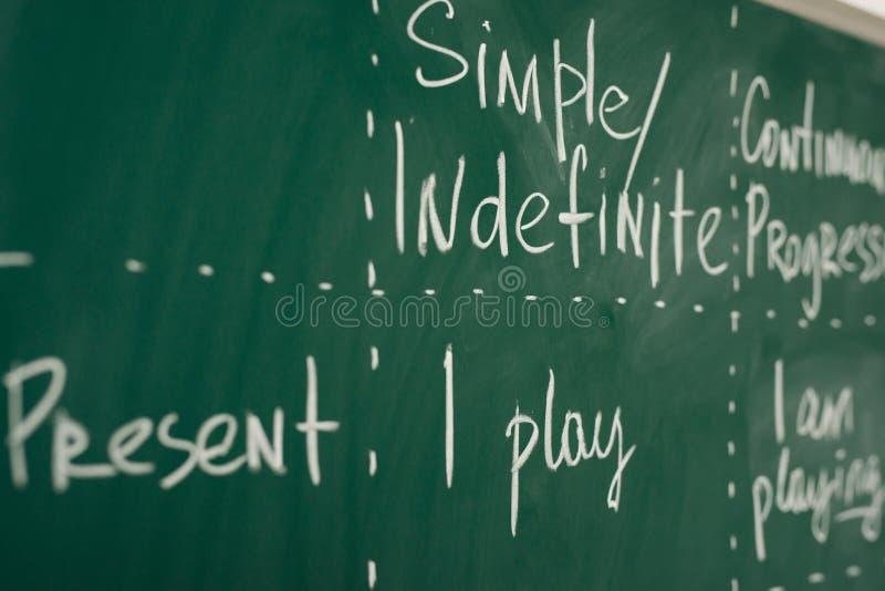 Den engelska kursen, skola, lär utländskt språk Verben stramar åt grammatik arkivfoto