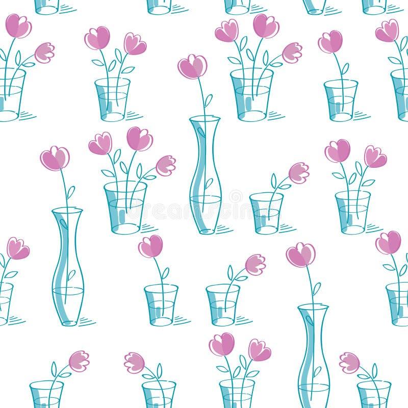 Den enkla blom- sömlösa modellen med handen drog rosa färger blommar royaltyfri illustrationer