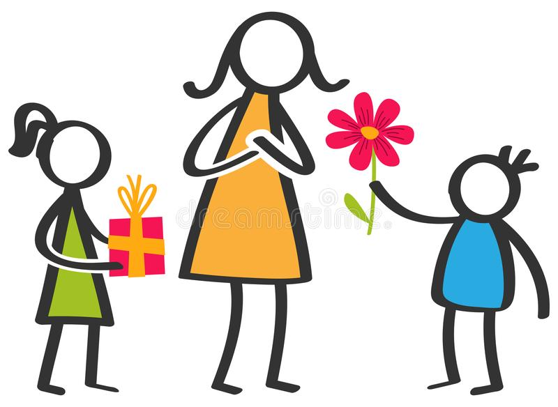 Den enkla färgrika pinnen figurerar familjen, barn som ger blommor och gåvor till modern på dag för moder` s vektor illustrationer