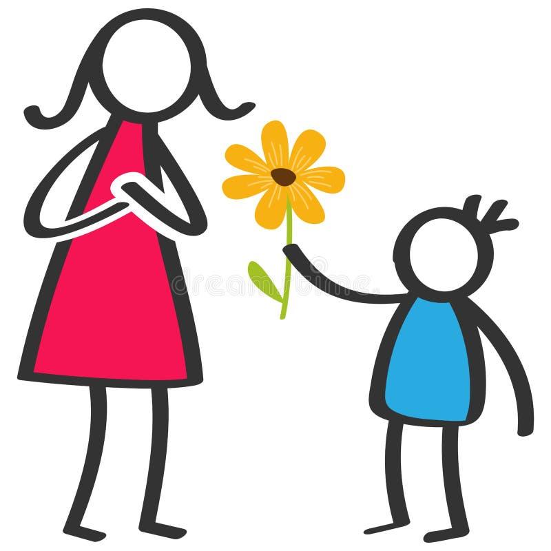 Den enkla färgrika pinnen figurerar familjen, pojken som ger blomman till modern på dagen för moder` s, födelsedag royaltyfri illustrationer