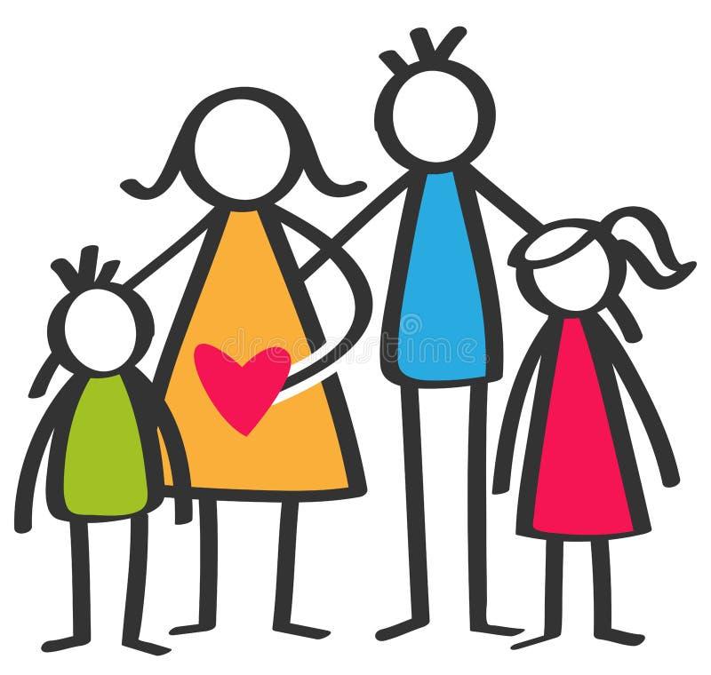 Den enkla färgrika pinnen figurerar den lyckliga familjen, modern, fadern, sonen, dottern, barn stock illustrationer