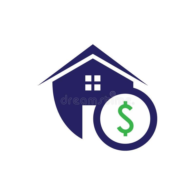 Den enkla hus och fastigheten skyddar symbolen med dollarsymbolet för rengöringsduksymbolen eller mobilen APP vektor illustrationer