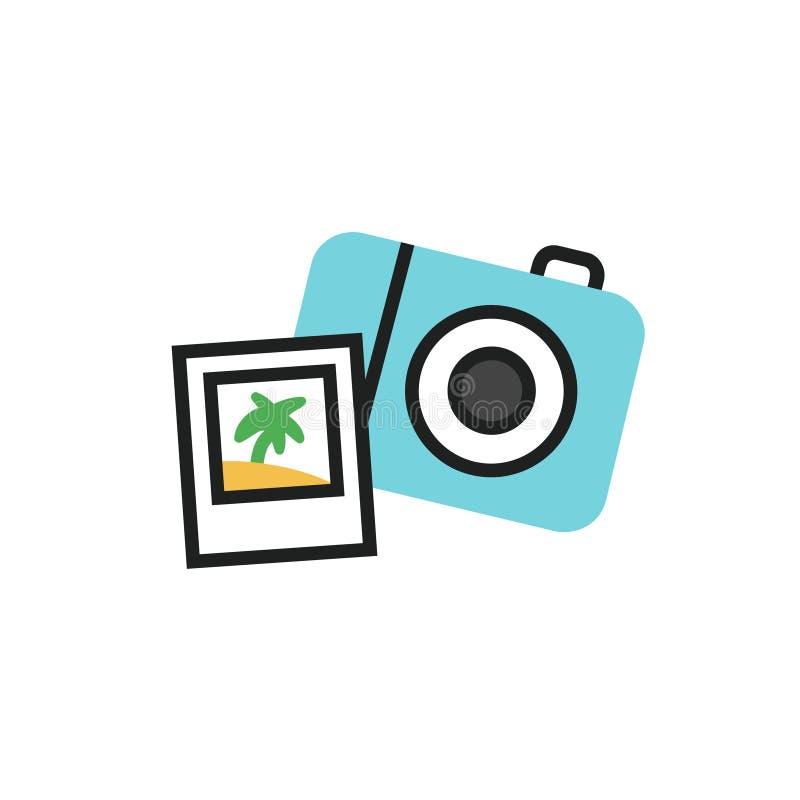 Den enkla illustrationen för vektorn av fotokameran - resa symbolen i plan linjär stil royaltyfri illustrationer