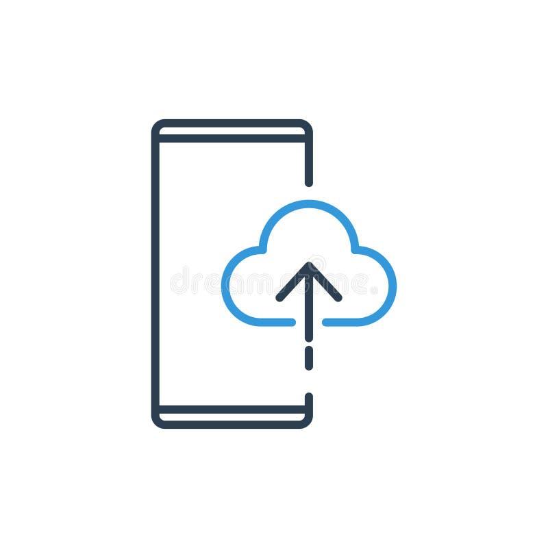 Den enkla linjen av mobiltelefonvektorsymbolen - ladda upp till internet och molnet informationsdata om räddning vektor illustrationer