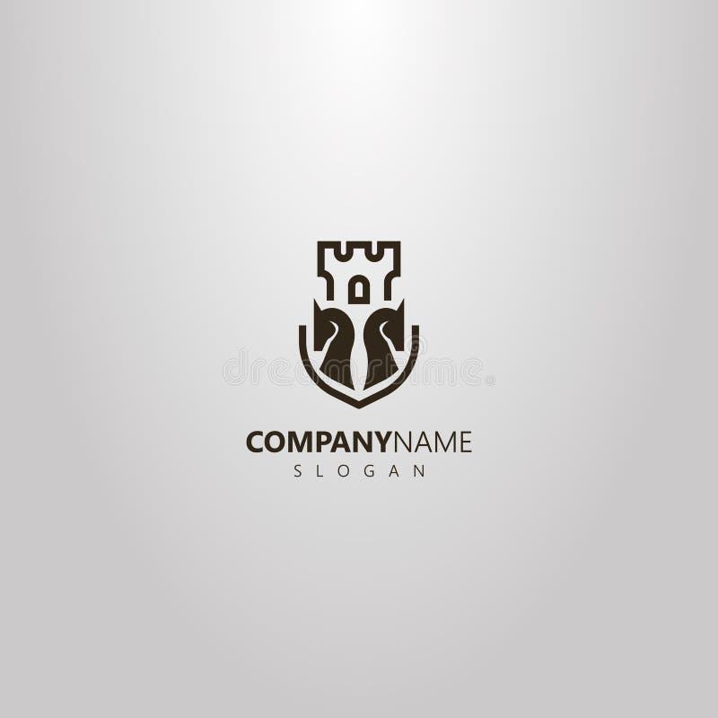 Den enkla logoen för vektorlägenhetkonst av två schackriddare och slotten står högt bak dem royaltyfri illustrationer