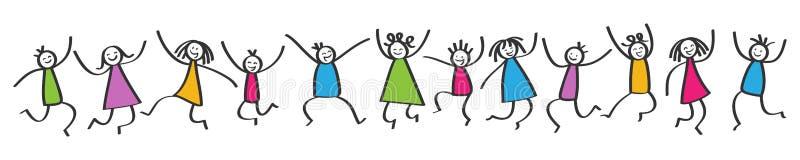 Den enkla pinnen figurerar banret, lyckliga färgrika ungar som hoppar, händer i luften stock illustrationer