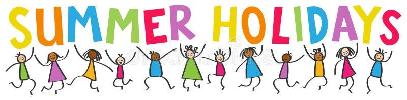 Den enkla pinnen figurerar banret, lyckliga mångkulturella ungar som hoppar, färgrika bokstavsSOMMARFERIER vektor illustrationer