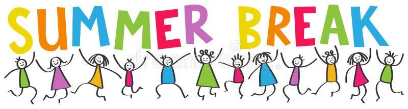 Den enkla pinnen figurerar banret, lyckliga ungar som hoppar, färgrikt bokstavsSOMMARAVBROTT royaltyfri illustrationer
