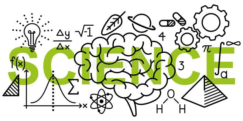 Den enkla rena conceptional vektorillustrationen av matematik och vetenskap gällde linjen symboler på ordet VETENSKAP stock illustrationer