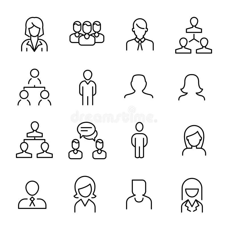 Den enkla samlingen av personalresurser timme gällde linjen symboler stock illustrationer