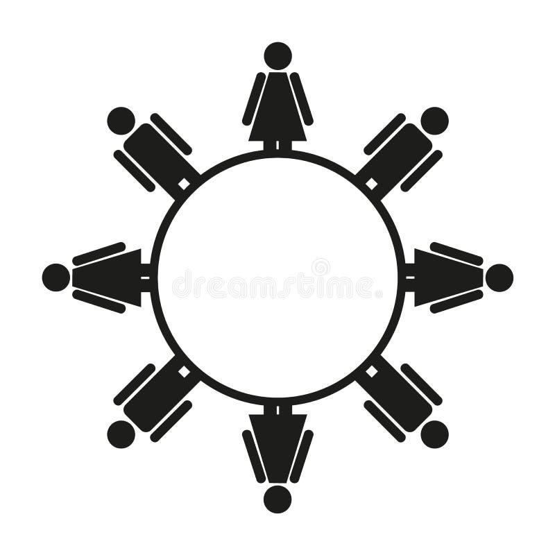 Den enkla svartvita isolerade symbolen av mannen och kvinnlign rundar vektor illustrationer
