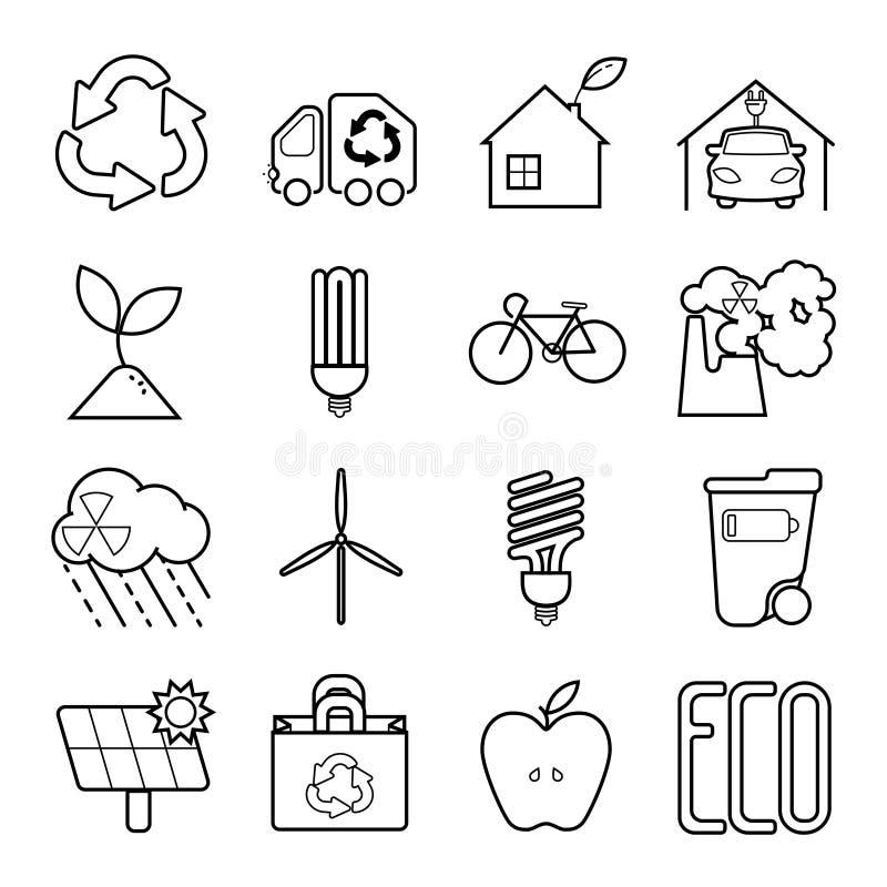 Den enkla uppsättningen av Eco gällde vektorlinjen symboler vektor illustrationer