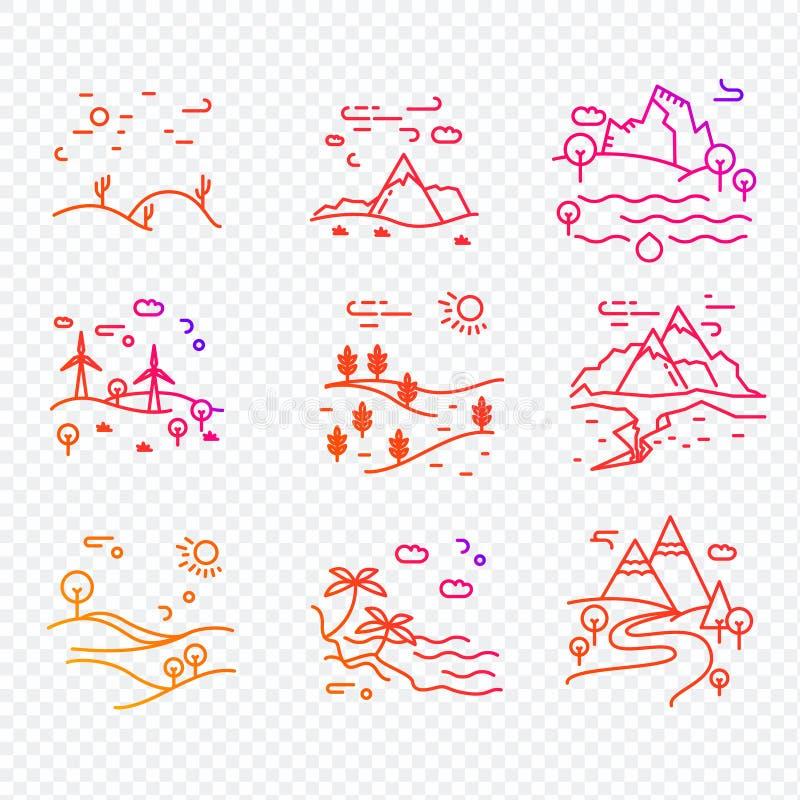 Den enkla uppsättningen av Eco gällde vektorlinjen symboler royaltyfri illustrationer