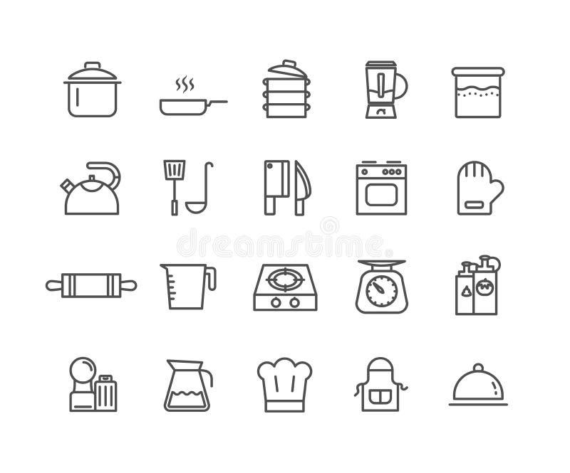 Den enkla uppsättningen av kök bearbetar den tunna linjen symboler för vektorn royaltyfri illustrationer