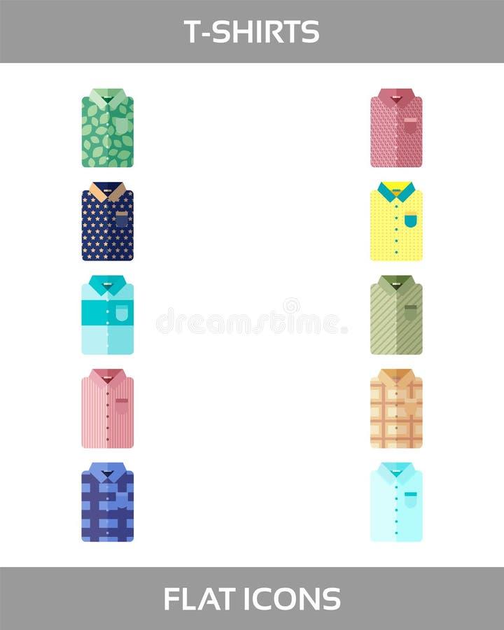 Den enkla uppsättningen av kläder och shoppingvektorn sänker symboler utan översikt royaltyfri illustrationer