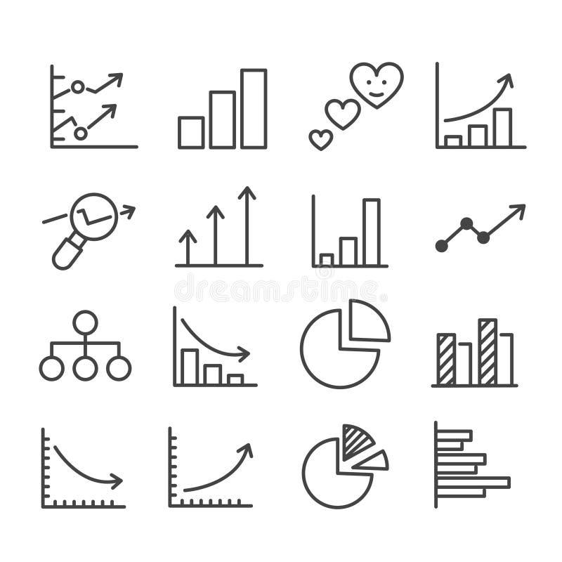 Den enkla uppsättningen av den minsta symbolen för grafen liksom pajdiagrammet, statistik isolerade Modern ?versikt p? vit bakgru stock illustrationer