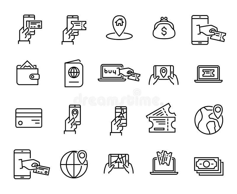 Den enkla uppsättningen av online-bokningen gällde översiktssymboler stock illustrationer