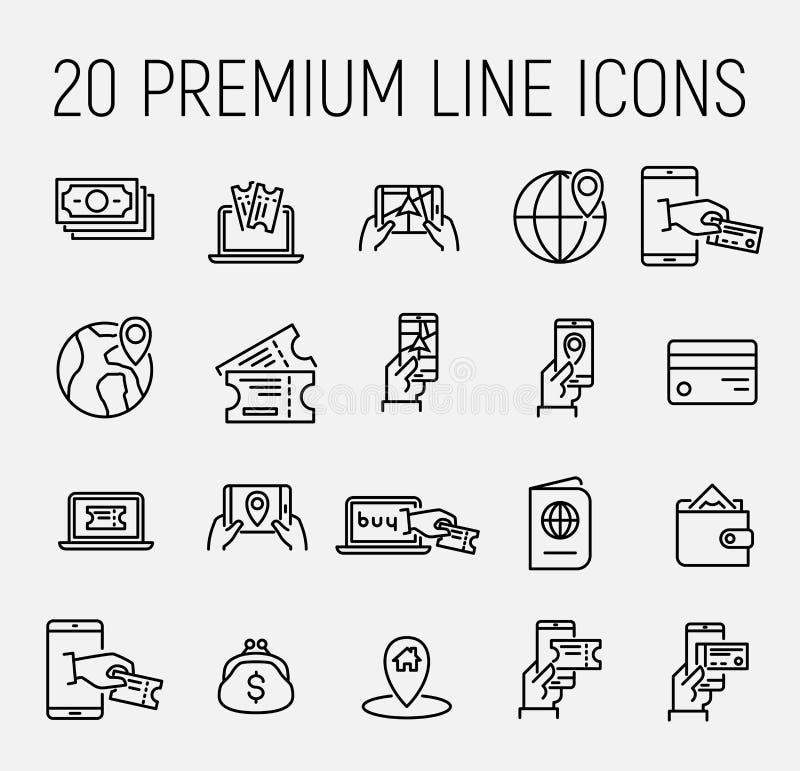 Den enkla uppsättningen av online-bokningen gällde översiktssymboler royaltyfri illustrationer