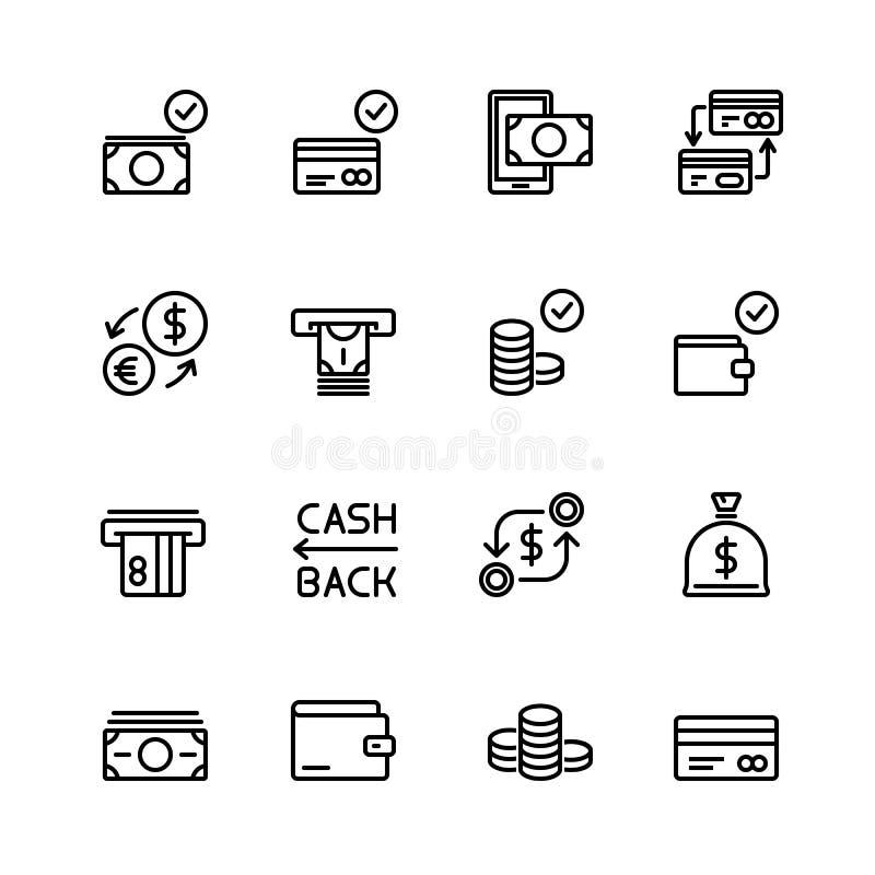 Den enkla uppsättningen av pengar och den finansiella vektorn fodrar symboler Innehåller sådana symboler som plånboken, ATM, pack stock illustrationer