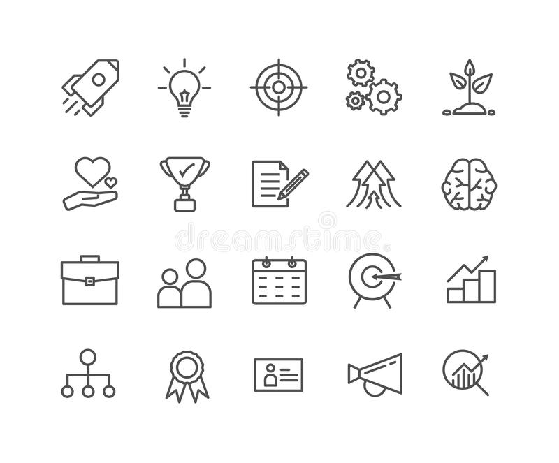 Den enkla uppsättningen av startar upp den tunna linjen symboler för vektorn stock illustrationer