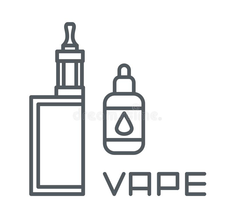 Den enkla uppsättningen av vape gällde vektorlinjen symboler, elektronisk cigarett och flytande stock illustrationer
