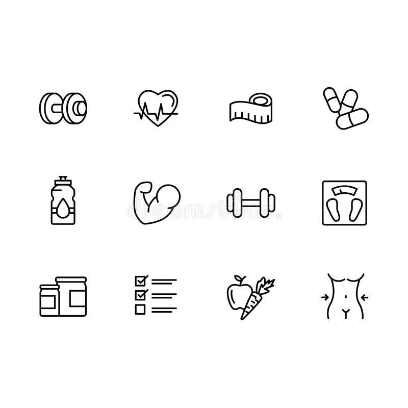 Den enkla uppsättningsporten, kondition, idrottshallutrustning gällde vektorlinjen symboler Konditionutbildning, bodybuildinghant royaltyfri illustrationer
