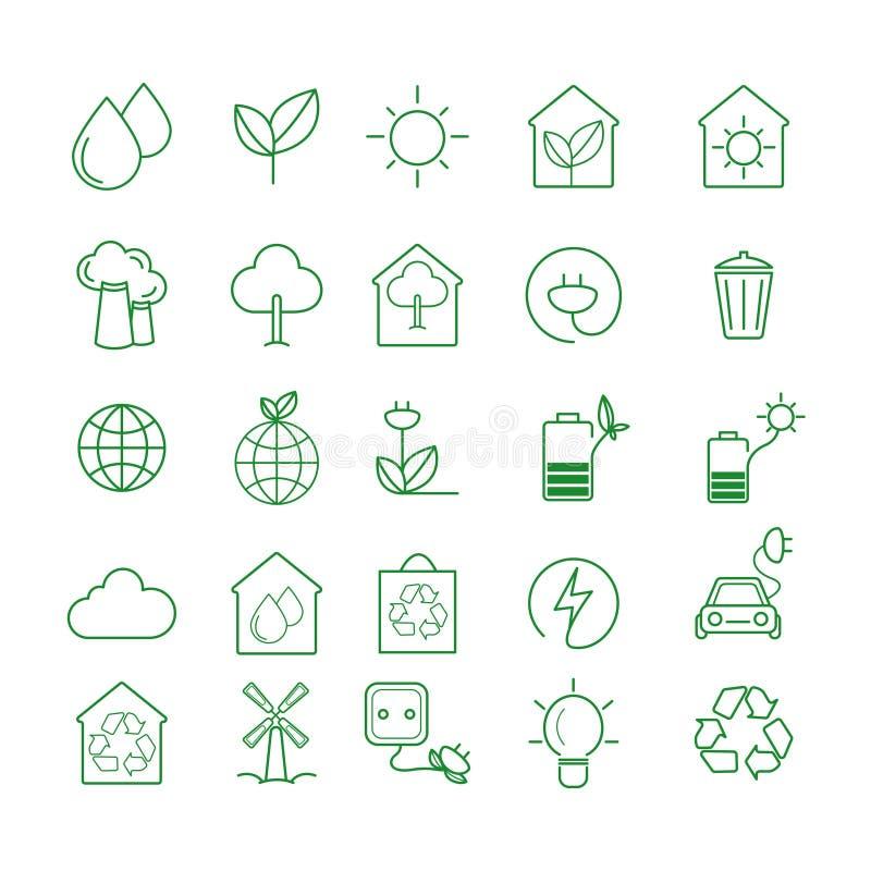 Den enkla upps?ttningen av Eco g?llde vektorlinjen symboler Innehåller sådana symboler som elbilen, global uppvärmning, skogen, o stock illustrationer