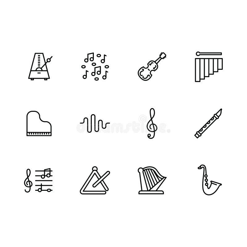 Den enkla vektorn för för uppsättningmusikinstrumentet och utrustning fodrar symbolen Innehåller sådan symbolsfiol, pianot, harpa stock illustrationer