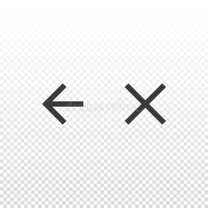 Den enkla vektorsymbolen tillbaka och stänger sig isolerat på genomskinlig bakgrund Beståndsdel för designen app eller website stock illustrationer