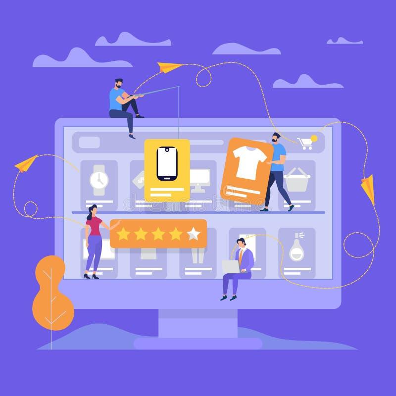 Den enorma bildskärmen med folk gör online-shopping stock illustrationer