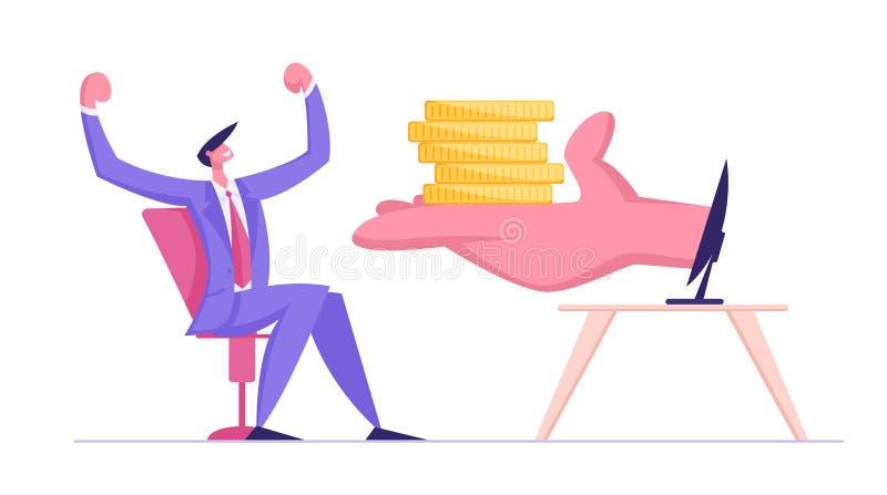 Den enorma människan gömma i handflatan ge högen av guld- mynt till den lyckliga affärsmannen Sitting på datorskärmen Freelancer  royaltyfri illustrationer