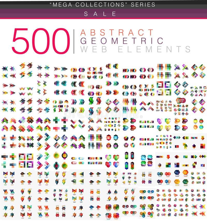 Den enorma mega uppsättningen av 500 origami för affärspapper utformar infographic baner för alternativ vektor illustrationer