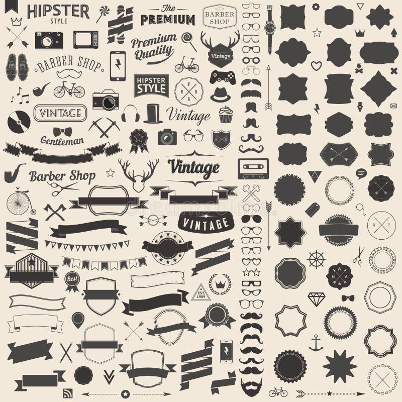 Den enorma uppsättningen av tappning utformade designhipstersymboler Vektortecken och symbolmallar för din design stock illustrationer
