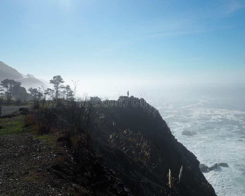 Den ensamma mannen står över den Stillahavs- kustlinjen arkivbilder