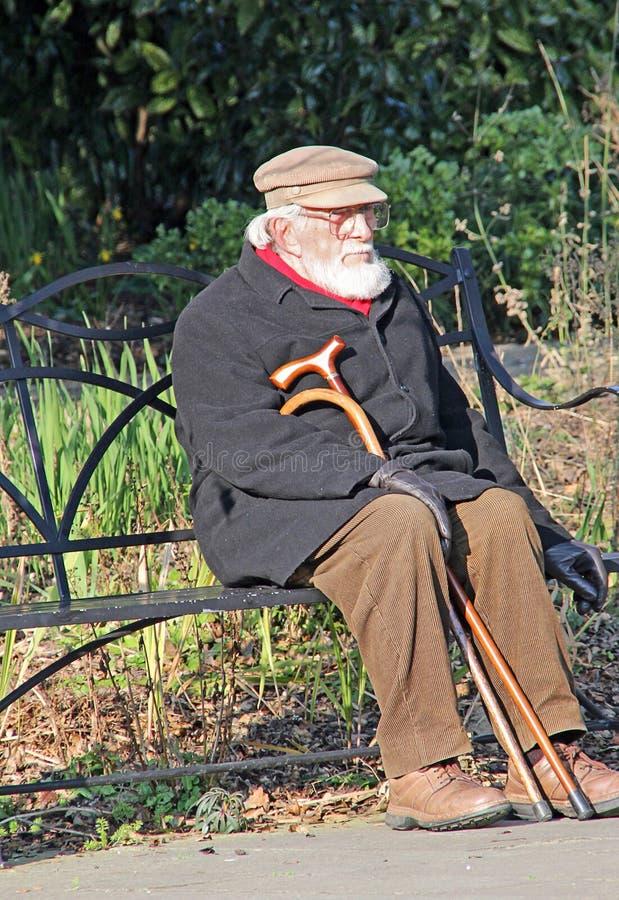 Den ensamma pensionären parkerar på bänken royaltyfri bild