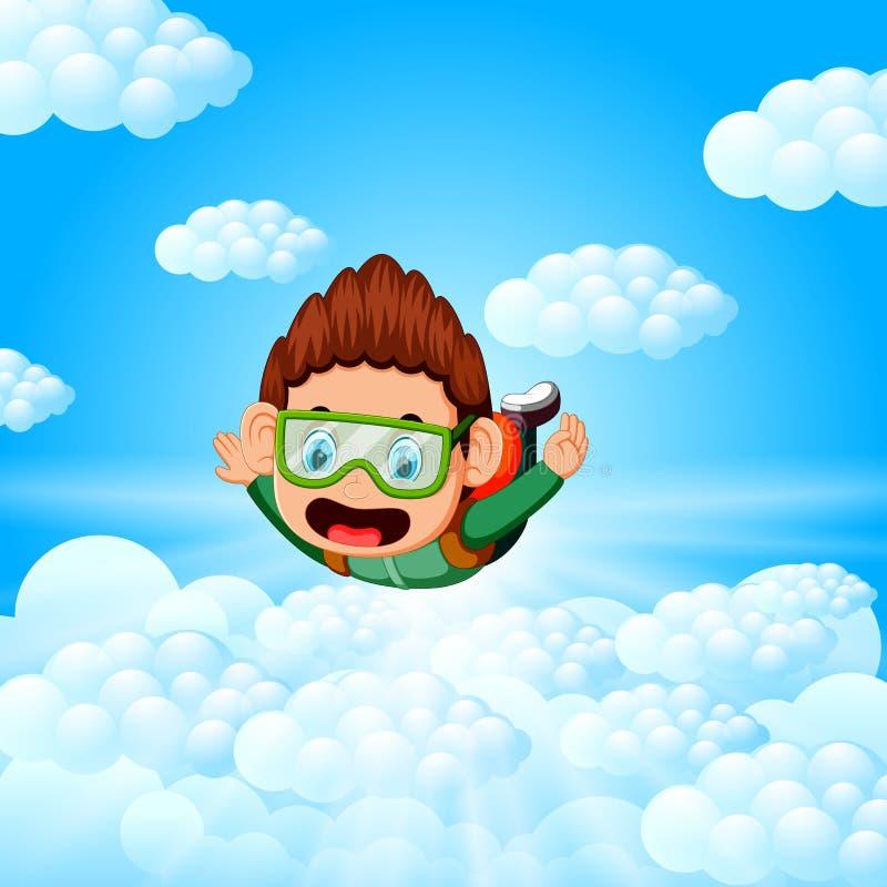 Den ensamma skydiveren är i fria fallet stock illustrationer