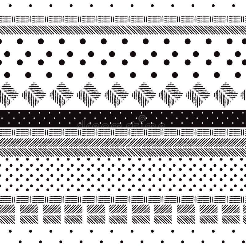 Den entoniga svartvita modellen blandade geometrisk för prickar stock illustrationer