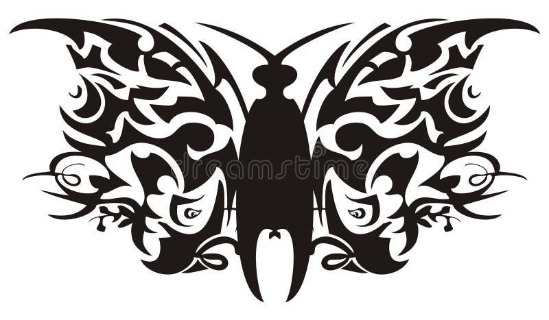 Den etniska fjärilen som bildas från papegoja, heads beståndsdelar stock illustrationer