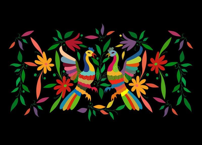 Den etniska mexicanska gobelängen med blom- broderi och påfågeldjungeldjur hand-gjorde Folk garneringar för lättroget tryck latin vektor illustrationer