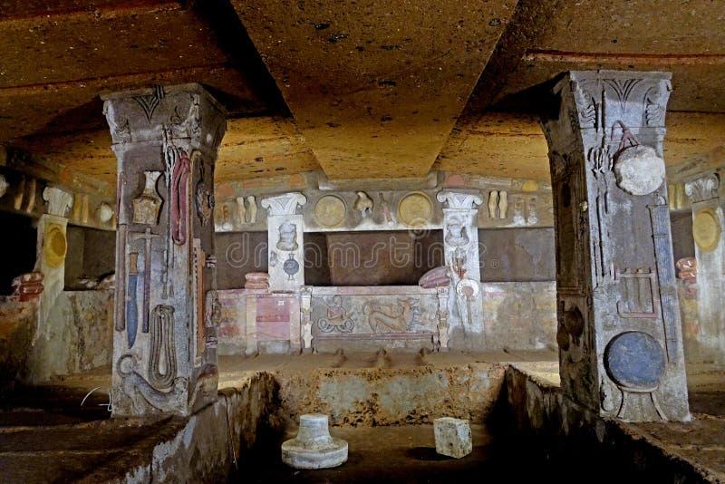 Den Etruscan nekropolen av Cerveteri royaltyfri fotografi