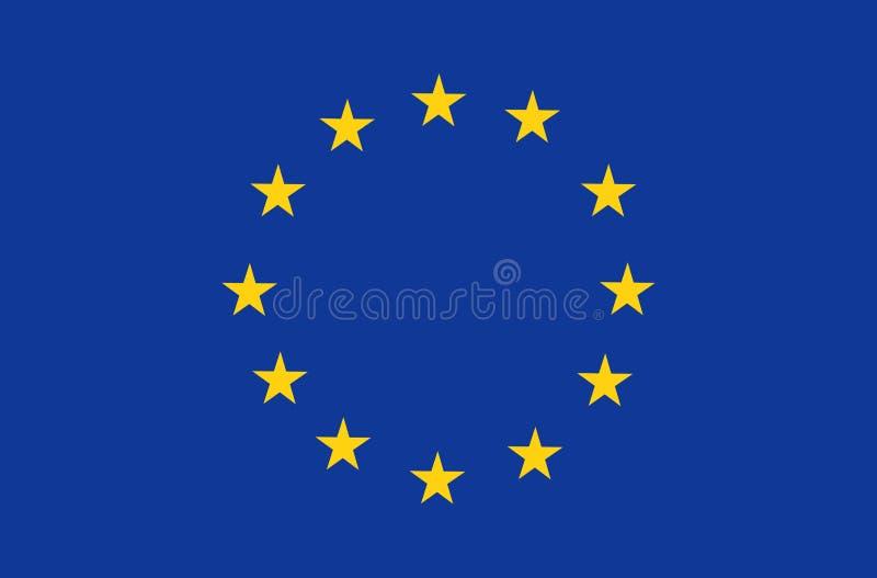 Den europeiska fackliga flaggan, representantfärger och proportionerar korrekt Patriotiskt EU-symbol, baner, beståndsdel, design, stock illustrationer