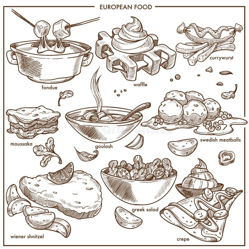 Den europeiska kokkonstmatdisken för menyvektor skissar symbolsmallar royaltyfri illustrationer