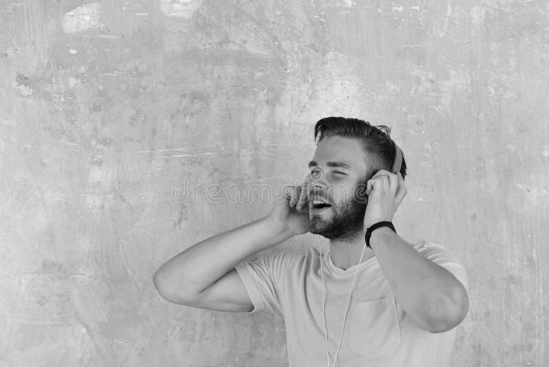 Den europeiska mannen har rolig tid Amerikansk stilig skäggig grabb med hörlurar royaltyfria bilder